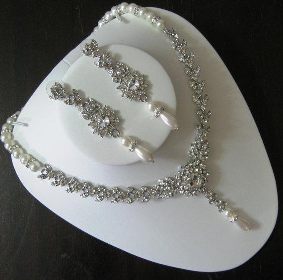 Bridal Jewelry Set Necklace And Earrings Rhinestone Pearl Swarovski Crystal Wedding