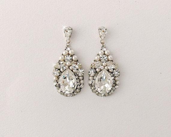 Wedding Earrings Bridal Vintage Style Swarovski Crystals Pearl Teardrop Jewelry Paige
