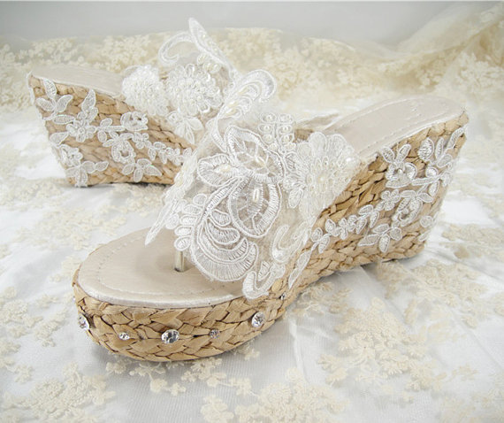 Wedding Shoes Lace Sandals Crystal Bridal Beach Beaded Holidays Honeymoon