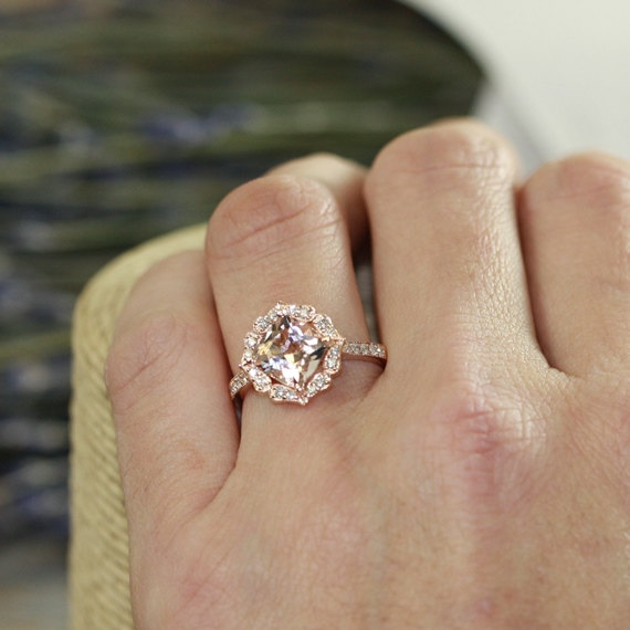 Vintage Fl Morganite Engagement Ring In 14k Rose Gold Milgrain Diamond Wedding Band 8x8mm Cushion Custom Made Ok