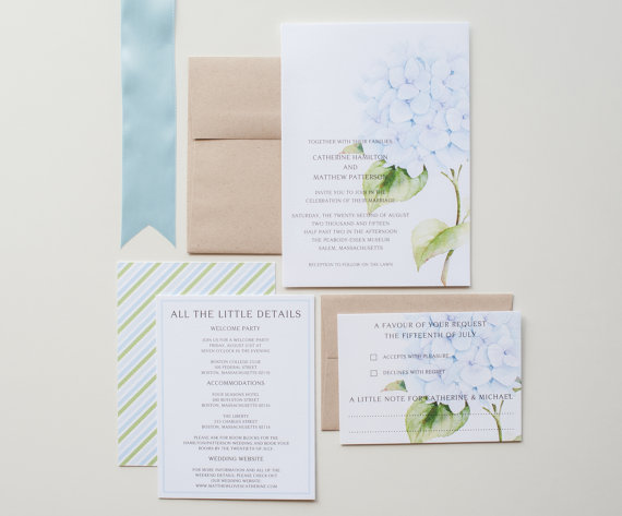 Hydrangea Garden Wedding Invitations Rustic Vintage Botanical Blue And Green