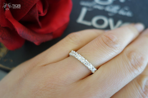 12 Stone Wedding Band Only 3 4 Carat Man Made Diamond Simulants 2 5 Mm Engagement Bridal Promise Ring Sterling Silver Or 14k Gold