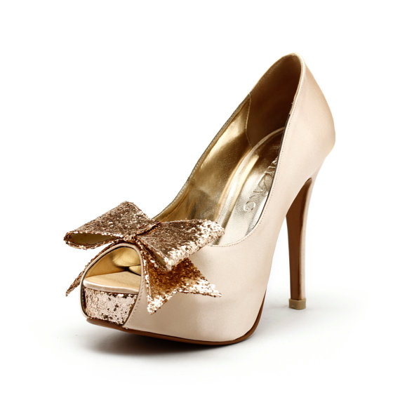 Cranberry Champagne Wedding Heels Gold Shoes With Glitter