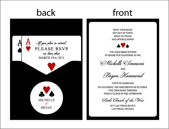 Panel Pocket Clic Vegas Or Themed Wedding Invitations