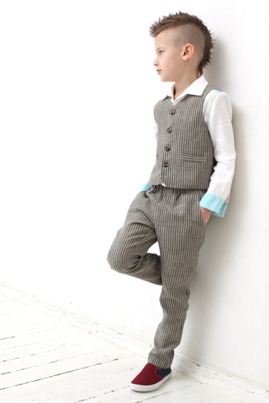 Ring Bearer Outfit Wedding Party Toddler Boy Vest And Pants Boys Linen Suit Family Photo Baptism