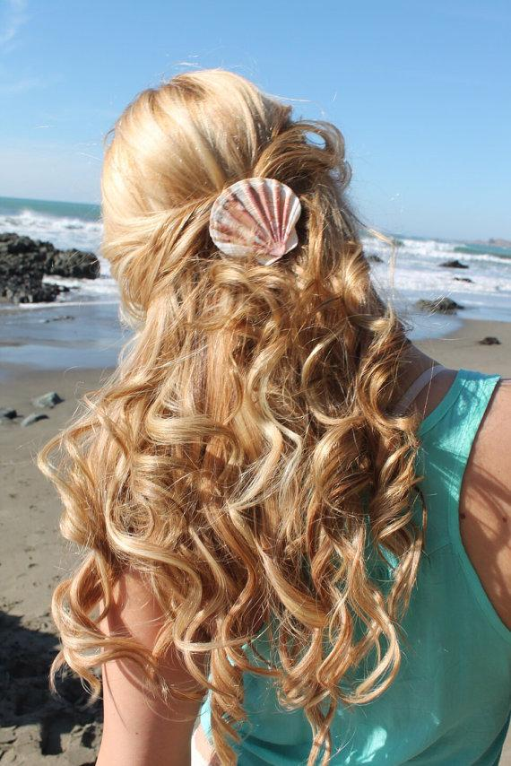Seashell Barrette Or Pinch Clip Hair Accessories For Beach Weddings Mermaid Costumes Tropical Themes
