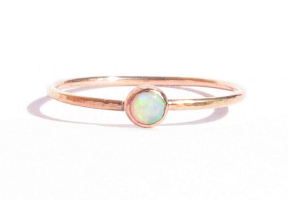 Sale Opal & Solid Rose Gold Ring Stacking Ring Thin Gold