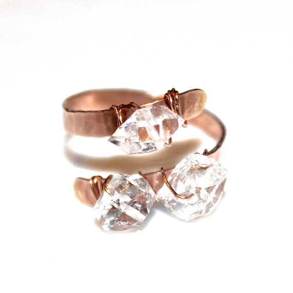 Herkimer Diamond Ring Rose Gold Three Stone Pink Rustic Engagement Adjule Wedding Modern