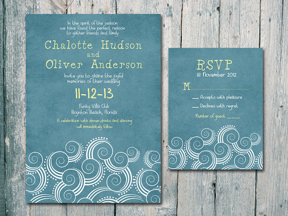 Digital Printable Files Summer Beach Wedding Invitation And Reply Card Set Stationery Id152