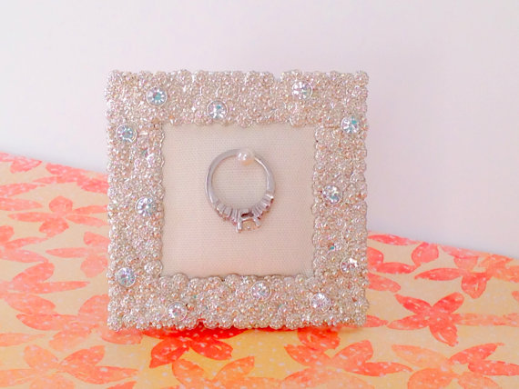 Wedding Ring Holder Small Square Diamond Rhinestone Frame Engagement Bridal Shower Gift For Her Stand