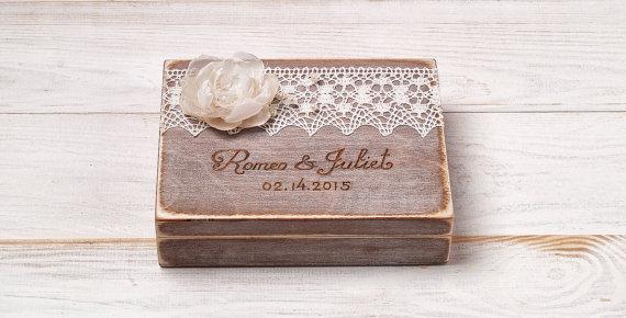 Personalized Ring Bearer Box Wedding Rustic Vintage Holder Pillow Custom Wood Wooden Rj 1