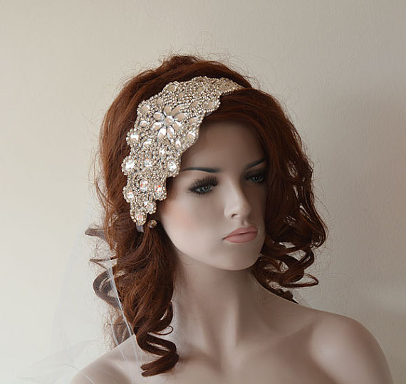 vintage style bridal hair accessories wedding rhinestone headband wedding veil bridal veil 4352