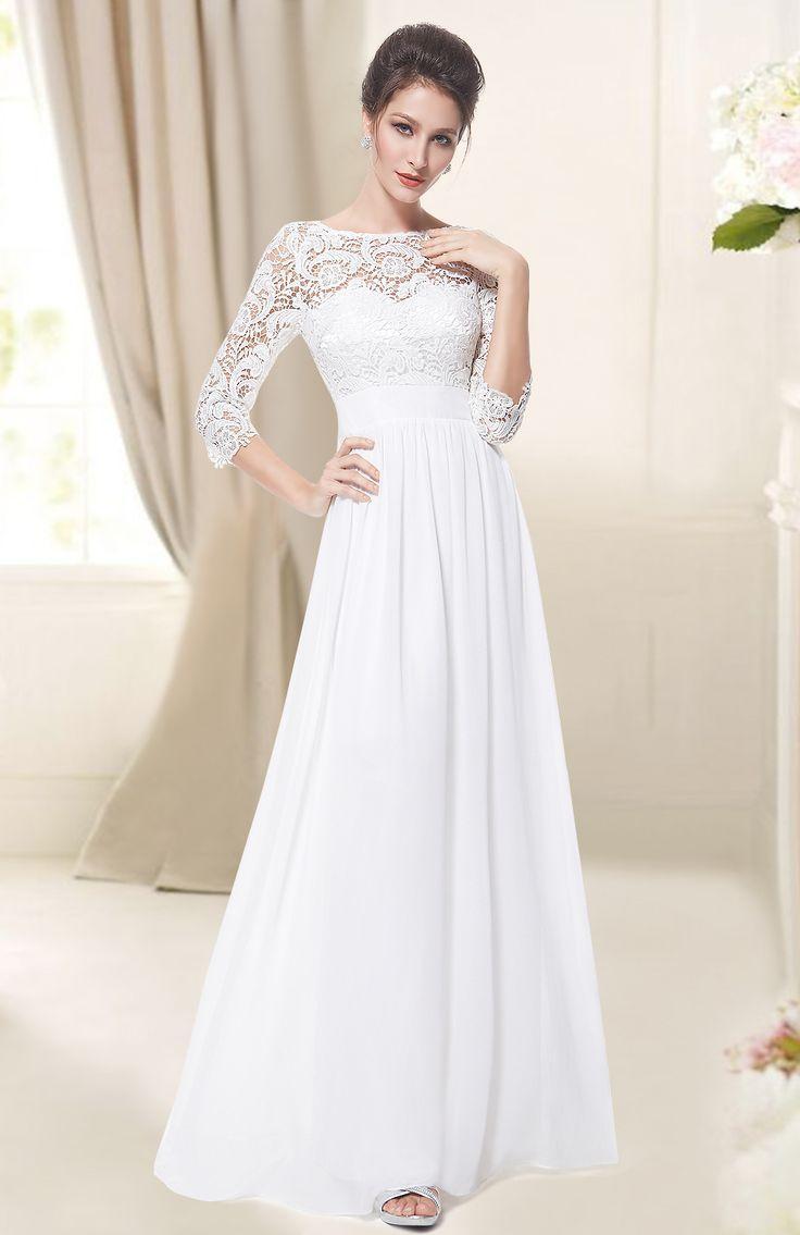 Women S Elegant 3 4 Sleeve Lace Long Evening Dress