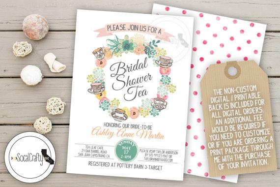 Bridal Shower Invitation Tea Party Shabby Chic Succulent