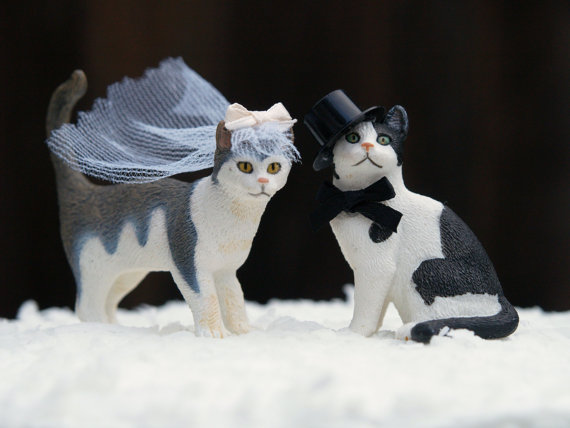 Cat Wedding Cake Topper Bride Groom Animal Lover Kitty Unique Pet