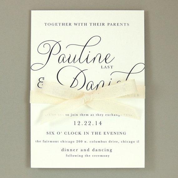 Pauline Suite Modern Elegant Wedding Invitation Clic Simple Ribbon Invite Customizable Sample