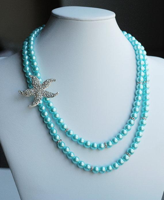 Bridal Pearl Rhinestone Necklace Crystal Beach Wedding Jewelry Starfish Something Blue Teal Turquoise Aqua Nk045lx