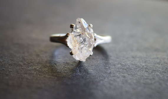 Raw Diamond Engagement Ring Rough Natural Uncut Wedding Band Gemstone Promise Affordable Jewelry Handmade