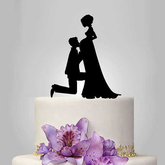 wedding cake topper pregnant bride and groom silhouette wedding cake topper 26372