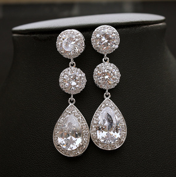 Bridal Crystal Earrings Large Round Wedding Post Cubic Zirconia Teardrop Jewelry