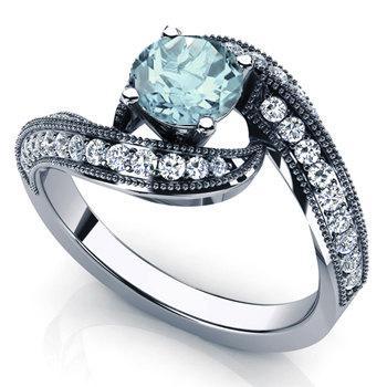 Aquamarine Engagement Ring 14k White Gold With Diamonds March Birthstone