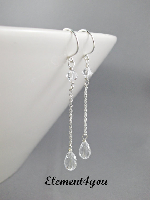 Crystal Teardrop Earrings Bridal Drop Wedding Long Sterling Silver Vintage Style Jewellery Bridesmaid