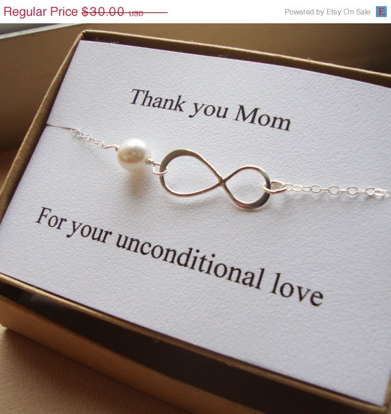 Easter Thank You Mom Infinity Bracelet Eternity Wedding Special Gift Jewelry Card Set Mother