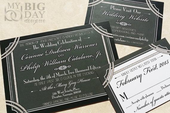 1920 S Style Great Gatsby Wedding Invitation Hollywood Invites Glitter And Invitations