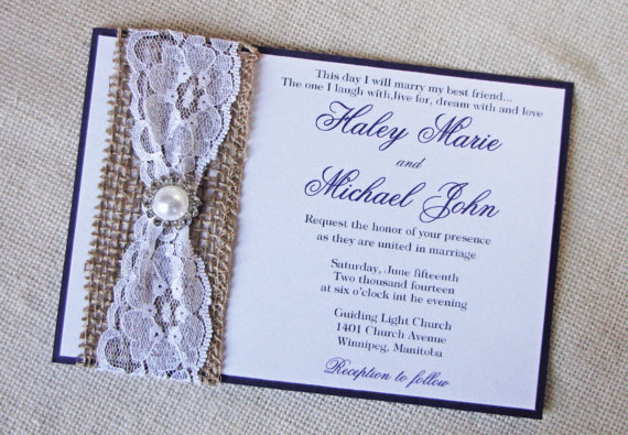 Elegant Wedding Invitation Rustic Burlap Vintage Lace Pearl Rhinestone Accent Suite Handmade