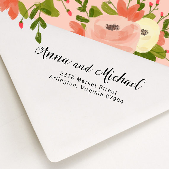 Custom Address Stamp Wood Handle Or Self Inking Return On Wedding Invitations Save The Date Anna And Michael Design
