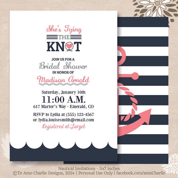Tying The Knot Nautical Bridal Shower Invitations Modern