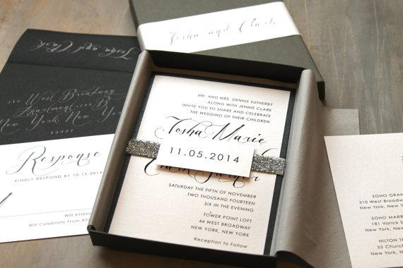 Modern Script Wedding Invitations Elegant Boxed Invitation Calligraphy Black Box Invite Sample New Lower Price