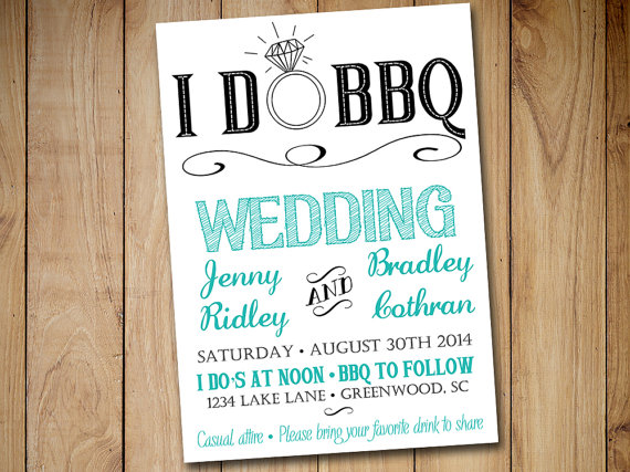 I Do Bbq Wedding Invitation Template Blue Teal Black 5x7 Printable Rustic