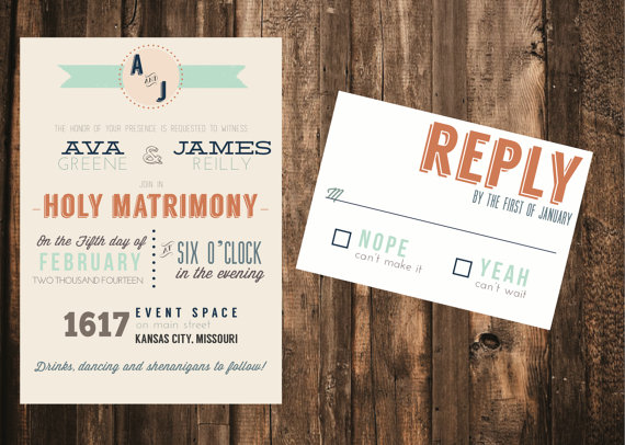Modern Typography Wedding Invitation 50 Printed Sets Hipster