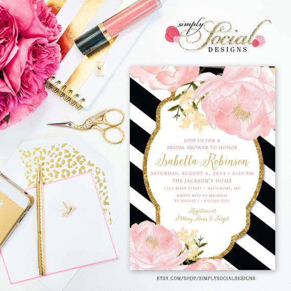Garden Peonie Flowers Blush Pink And Gold Black White Stripes Bridal Shower Invitation