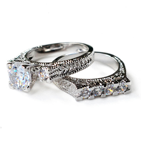 cz ring wedding enement set antique style - Vintage Style Wedding Rings