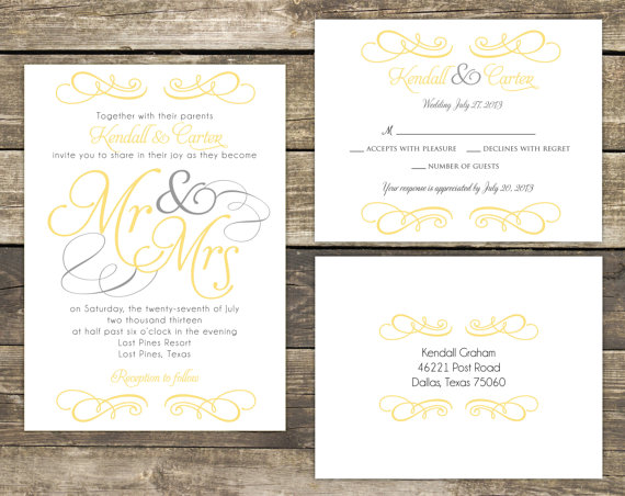 Printable Wedding Invitation Suite Diy Mr And Mrs Yellow Gray Collection Colors Wording Can Be Customized
