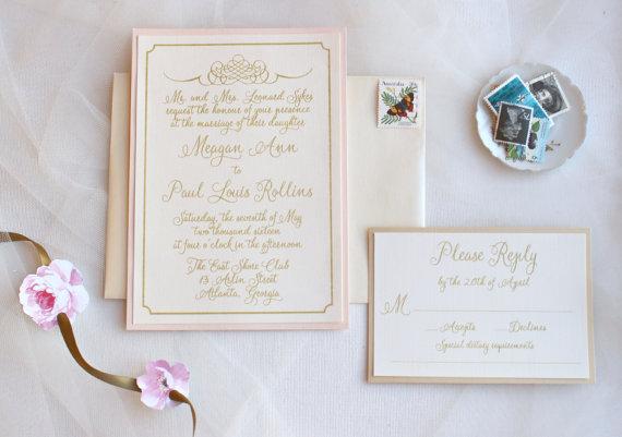 Blush And Gold Wedding Invitations Lace Invites Vintage Romance Invite Sample