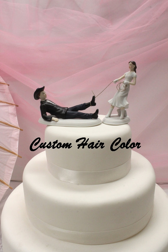 Personalized Wedding Cake Topper Cowboy Cow Bride And Groom Western Theme Country