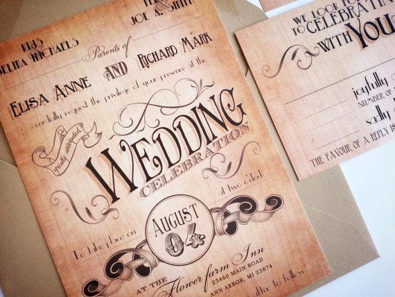 Wood Wedding Invitation Rustic Country Art Deco Invitations