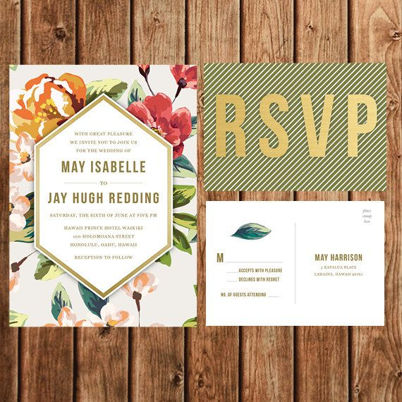 Destination Wedding Invitation Beach Tropical C Green Fl Vintage Bohemian Save The Date Bridal Shower Postcard Printable