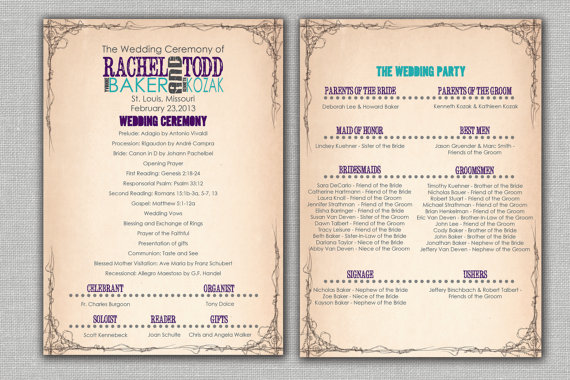 Vintage Concert Poster Wedding Ceremony Program Modern Rustic Custom Purple Treasure