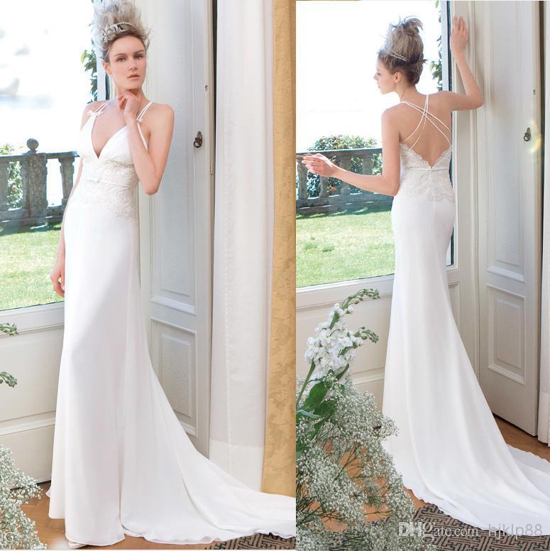 Elegant Fashion 2017 New Arrival Spaghetti Jillian Wedding Dresses Strap Crisscross Back Lace Chiffon Bow Backless Dress Bridal Gown Online With