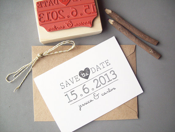 Save The Date Rubber Stamp Diy Bride Wedding Invitation Personalize With Names And