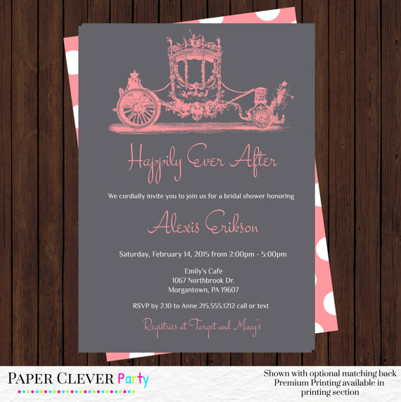 Fairy Tale Bridal Shower Invitations C Wedding Invites Vintage Horse And Carriage Printed Or Printable Digital File