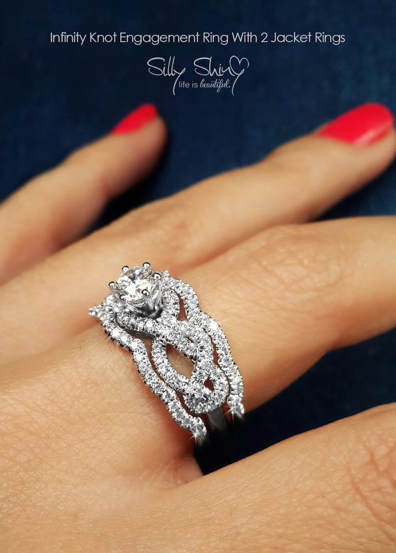 Infinity Engagement Rings Knot Ring With 2 Matching Diamond Bands Wedding Set Unique