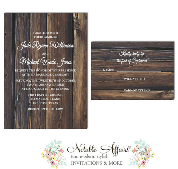 Rustic Country Barn Wood Vintage Bare Tree Wedding Invitation Rsvp Card Set Choose Your Wording As Desired