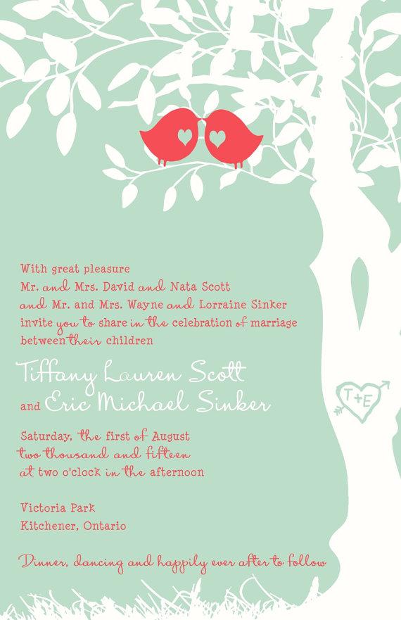 Rush Mint And C Love Bird Wedding Invitation Budget Invitations Custom Listing For Tiffmagriff