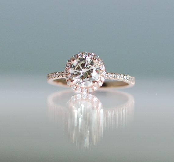 Engagement Ring Diamond 0 87ct Vs1 Champagne 14k Rose Gold By Eidelprecious