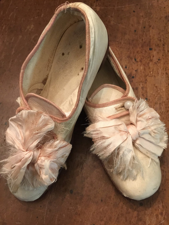 Beautiful Antique Victorian Childrens Silk Wedding Shoes Bows